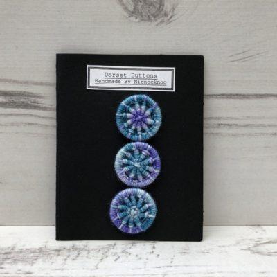 Set of 3 Handmade Dorset Buttons: Blue Purple