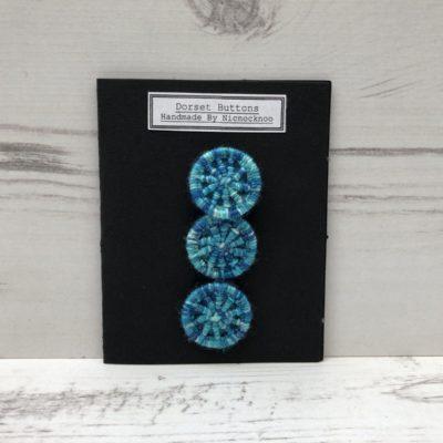 Set of 3 Handmade Dorset Buttons: Blue