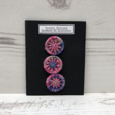 Set of 3 Handmade Dorset Buttons: Pink
