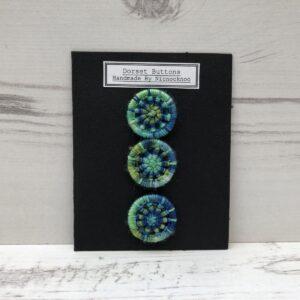 Set of 3 Handmade Dorset Buttons: Blue-Green