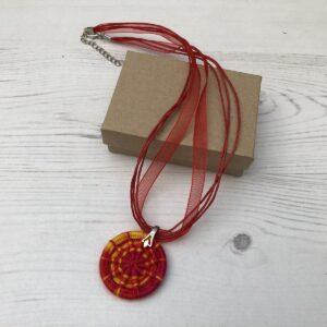 Handmade Dorset Button Necklace: Orange-Red