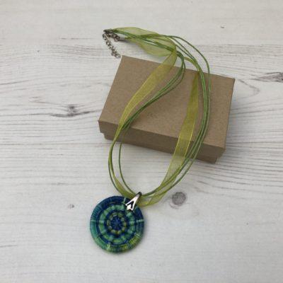 Handmade Dorset Button Necklace: Blue-Green