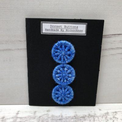 Set of 3 Handmade Dorset Buttons: Royal Blue