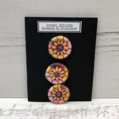 Set of 3 Handmade Dorset Buttons: Purple Orange