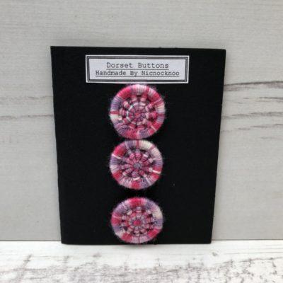 Set of 3 Handmade Dorset Buttons: Pale Pink