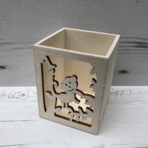 Wooden Pencil Pot: Monkey