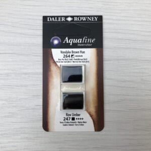 Aquafine HalfPan Refills: 264 (Vandyke Brown Hue) & 247 (Raw Umber)
