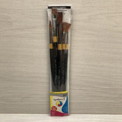 System 3 Acrylic Brush Set (4R, 0R, 4Fan, 8F, 8Br)