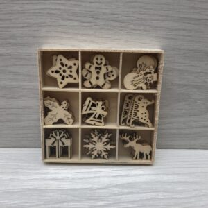 Mini Wooden Shapes Box: Assorted Christmas