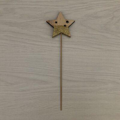 Wooden Christmas Stick: Glitter Star